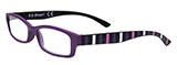 Purple Reading Glasses with Striped Arms