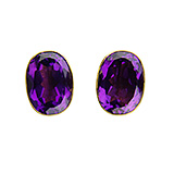 Zero-Karat Oval Post Amethyst Earrings