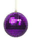 Purple Mirror Ball Ornaments, 4 pack