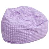 Large Lavender Bean Bag Chair with White Dots