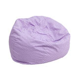 Small/Kid's Lavender Bean Bag Chair with White Dots