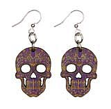 Wood Purple Sugar Skull Earrings