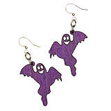 Wood Purple Ghost Earrings