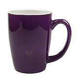 White and Purple Ceramic Spoon Holder Mug