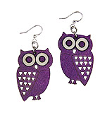Wood Purple Earrings - Owl