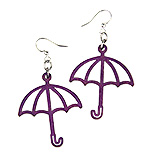 Wood Purple Earrings - Umbrella