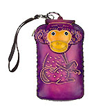 Purple Leather Phone Case - Monkey