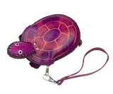 Purple Leather Coin Purse - Turtle