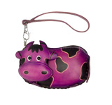 Purple Leather Coin Purse - Cow