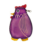 Purple Leather Coin Purse - Chicken