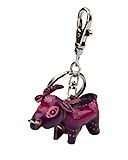 Purple Leather Keychain - Cow