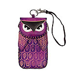 Purple Leather Phone Case - Owl