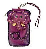 Purple Leather Phone Case - Elephant