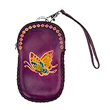 Purple Leather Purse with Butterflies