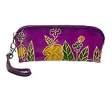 Purple Leather Purse with Flowers