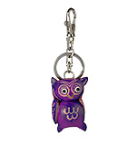 Purple Leather Keychain - Owl