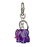 Purple Leather Keychain - Elephant
