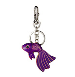 Purple Leather Keychain - Betta Fish