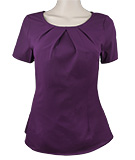 Purple Pleated Collar Textured Top