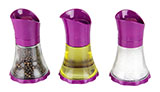 Set of Two Purple Spice Grinders and Purple Cruet