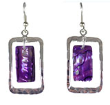 Nested Rectangle Abalone and Hammered Silver Earrings