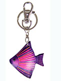 Purple Leather Keychain - Angel Fish