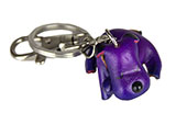 Leather Keychain - Sleeping Purple Dog