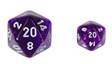 Mini, Transparent, Multi-sided, Purple Dice with White Numbers