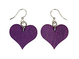 Purple Wooden Heart Earrings