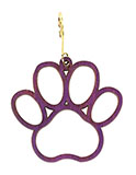 Purple Wooden Dog Paw Print Ornament