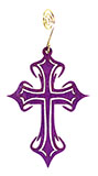 Wooden Purple Gothic Cross Ornament