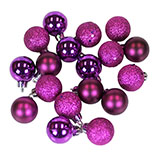 "18 Count 1.25"" Mini Purple Christmas Ornaments"