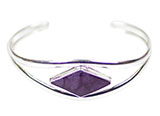 Silver Bracelet with Purple Abalone Diamond