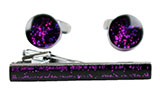 Shiny Purple Cufflinks and Tie Bar