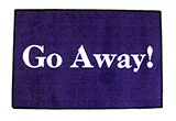 """Go Away!"" Purple Door Mat"