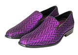 Purple Metallic Zig-Zag Slip On Tuxedo Shoe