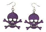 Purple Wooden Skull and Crossbone Earrings