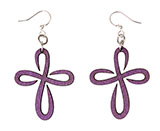 Wooden Loopy Purple Cross Earrings