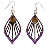 Purple Wooden Fan Palm Leaf Earrings