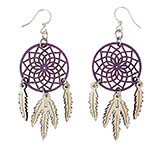 Purple Wooden Dreamcatcher Earrings