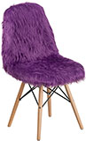 Purple Shaggy Faux Fur Accent Chair