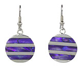 Abalone & Silver Stripe Purple Earrings