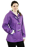 Purple Rain Slicker with Polkadot Detail