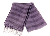 Elegant Dark Purple Raw Silk Scarf with Double Horizontal Bar Details