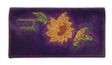 Hand-Made Leather Purple Wallet with Sunflower and Butterfly