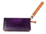 Hand Carved Leather Purple Clutch