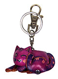 Purple Sleeping Cat Leather Keychain