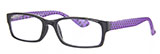 Purple Polkadot Reading Glasses with Black Frames