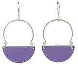 Light Purple Enamel Half Circle Dangle Earrings