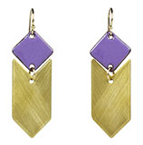 Enamel Purple Diamond with Brass Chevron Earrings